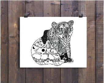 Pen and Ink Bear Print, Bear Art, Nursery Art, Black and White Art, Black and White Bear, Bear Drawing, Doodle Art, 4 x 6 Print, Art Print