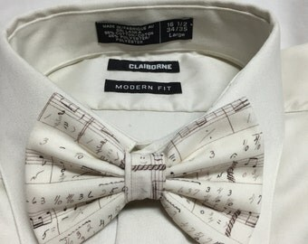 Ivory Music Note Print Bowtie / Bow Tie