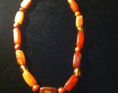 Carnelian Amber Copal and Yellow Heart Bead Necklace 19th C