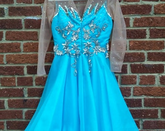 SRPING CLEANING SALE // Vintage Turquoise Circus Performer Costume Showgirl Dancer Dress S