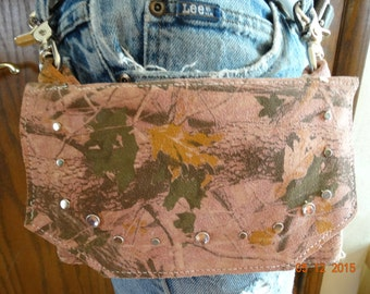 Pink Camoflaged leather cell phone holder/purse