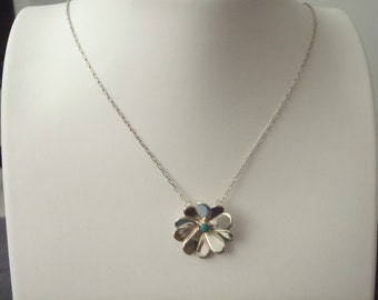 Sterling Silver Turquoise Flower Necklace N20
