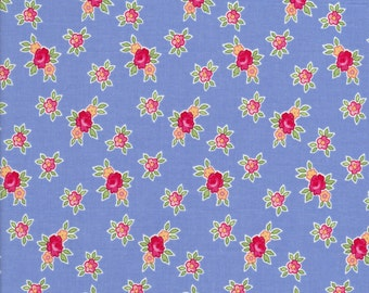 Rose Fabric - Pam Kitty Picnic Fabric - Floral Fabric - Lakehouse Fabric- Mini Floral - LH13018