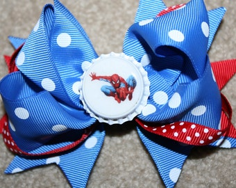 CLEARANCE SALE Spiderman - Custom Boutique Bottle Cap Hair Bow Clip - red and blue polka dots
