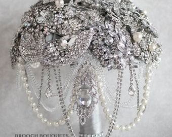 READY TO SHIP Brooch Bouquet, Wedding Bouquet, Bridal Bouquet, Crystal Bouquet, Wedding Jewelry Bouquet, Bridesmaids Bouquet, Broach Bouquet