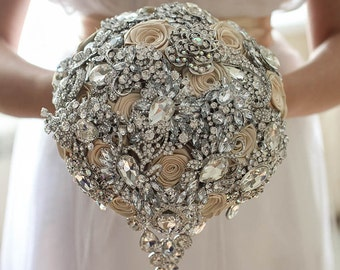Brooch bouquet. Champagne crystal wedding brooch bouquet, Jeweled Bouquet.