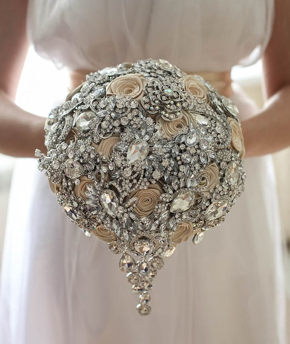 crystal wedding flower bouquets brooch bouquet champagne wedding brooch bouquet 3216