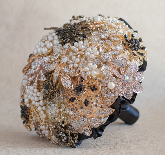 Brooch Bouquet Black And Gold Wedding Brooch Bouquet Jeweled