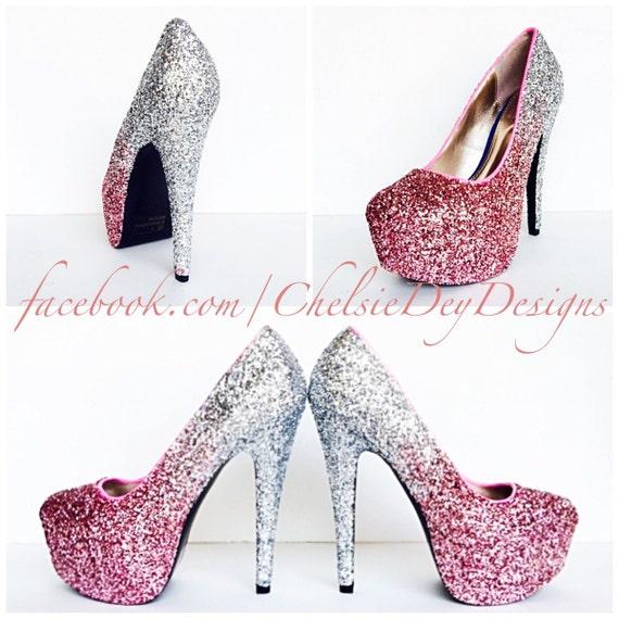 glitter high heels blush pink pumps light by chelsiedeydesigns