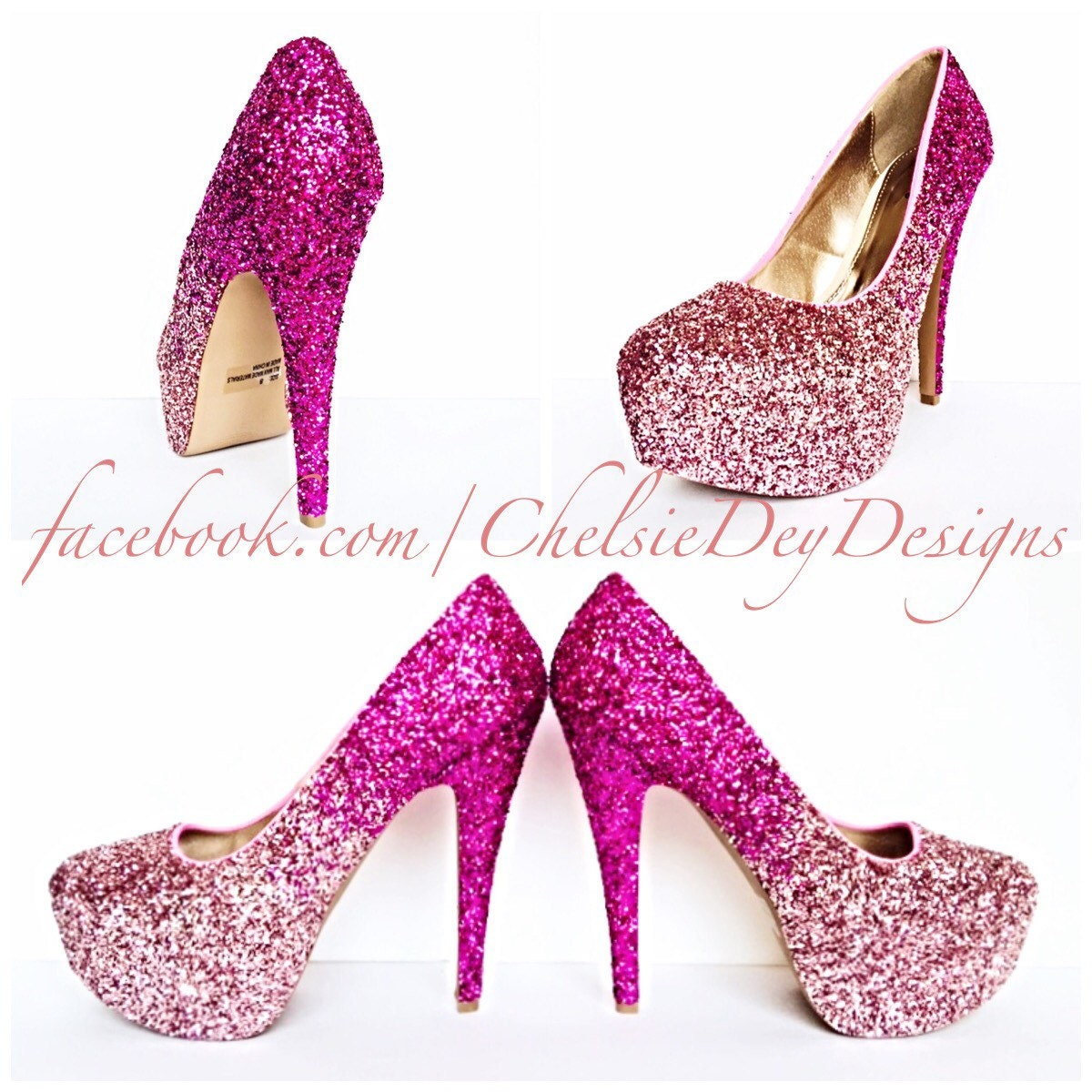 Glitter High Heels Hot Pink Pumps Light Pink Ombre