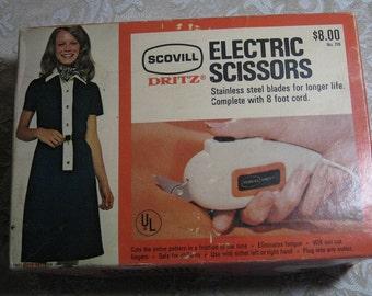Vintage Electric Scissors Stainless Steel Blades Scovill Dritz Original Box