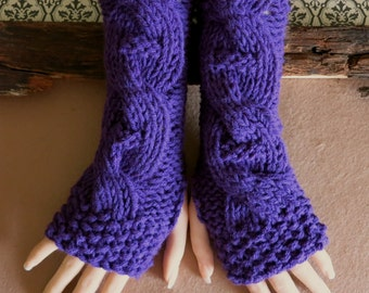 Fingerless Gloves, Purple Wrist Warmers, Cabled Arm Warmers, Womens Chunky Wool Knitted Gloves, Australia, Nchanted Gifts
