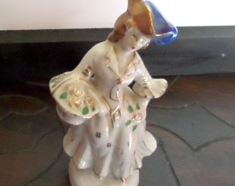 Girl with Flower Basket Figurine - Vintage - Occupied Japan