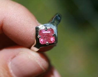 Ruby Ring Square Solitaire Sterling Silver Size 7 Engagement Ring Promise Ring July Birthstone Asscher Cut