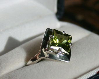 Peridot Ring Princess Cut Solitaire Sterling Silver