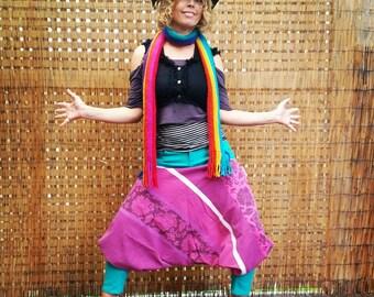 Boho pants/ yoga/ colourful/ethnic style/ festival/ pixie/ wandering gypsy/ pirate/ upcycled fabric/ bohemian. Size 10.