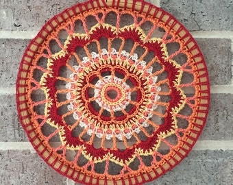"Dreamcatcher Mandala Wall Hanging in Red, Orange and Yellow, 8"" Hoop Art"