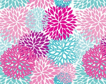Changing Pad Cover in aqua and pink floral, shower gift, girl nursery
