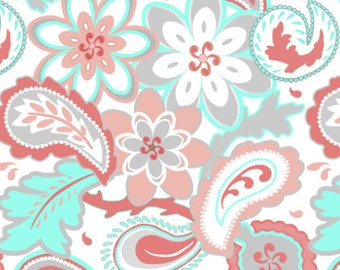 Nursery Items in Arissa Coral, Peach and Aqua Paisley. Changing covers,crib skirt,rail guard,sheet, pillows or any other item!