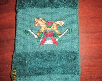 Rocking Horse Christmas Fingertip Towel