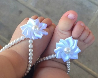 Baby barefoot sandals , baby girl, baby shoes ,baby jewelry ,baptism ,christening gift, baby shower gift , infant,white baby barefoot sandal