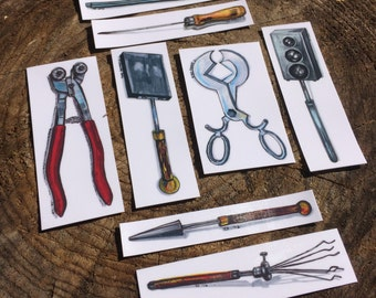 Glassblowing Tools vinyl sticker set - 8pc