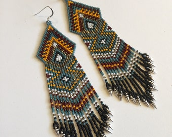 Teal and Orange Tribal Beaded Fringe Dangle Earrings