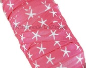 "Pink and White Starfish Print FOE - Nautical Shells Beach Fold Over Elastic 5/8"" Print Foe Headbands - Hair Ties - Shiny Satin Elastic"