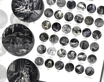 Dante's Inferno Printables by Gustave Dore, ONE INCH CIRCLES (25 mm), with 1/2 inch (13mm) and 3/4 inch (20mm) circles also included