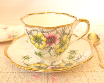 Tea Cup and Saucer Set Pink & Yellow Floral with Gold Gilt | Bone China Teacup Royal York China England | Bridal Gift for Her