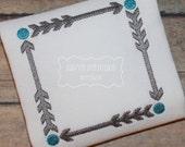 Arrow Square Frame Machine Embroidery Design