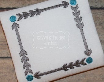 Arrow Square Frame Machine Embroidery Design