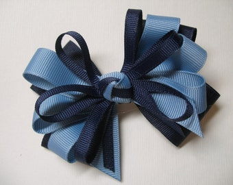 Navy and Blue Hair Bow Little 4 inch Cuite Back to School Boutique