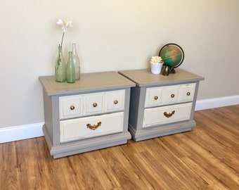 Gray Nightstands - Shabby Chic Style - Vintage Nightstands - Painted Nightstands - Real Wood Furniture - Fixer Upper Decor