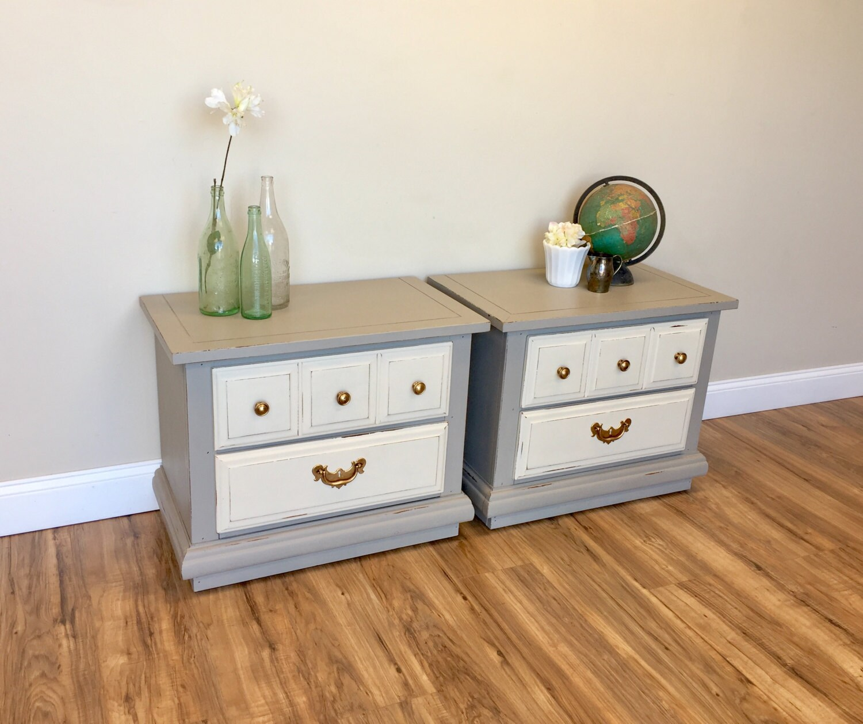 Gray nightstands beach cottage furniture 2 drawer - Gray shabby chic furniture ...