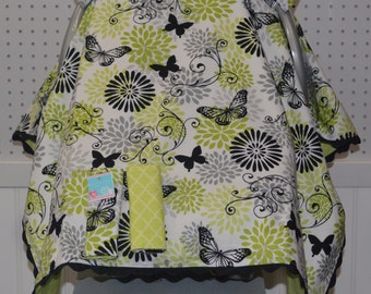 Baby Car Seat Canopy Girl/Butterfly/Lime Green/Black