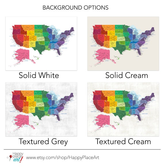 Bright Rainbow Color United States Map US Map Canvas Family - Us map color