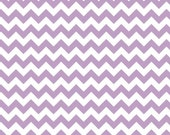 Riley Blake, Small Chevron Fabric, White and Lavender, Cotton Sewing Material, Quilt, Clothing, Apron, Pillowcase, Fat Quarter, By The Yard