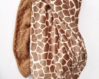 Minky Baby Blanket, Giraffe Baby Blanket, Animal Print Bedding, Minky Blanket Girl, Minky Blanket Boy, Minky Crib Blanket Size 36 X 45