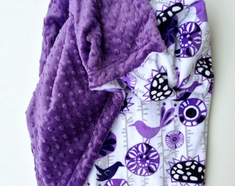 Minky Baby Blanket, Purple Crib Blanket, Baby Girl Blanket, Baby Blanket, Floral Baby Blanket, Crib Size Bedding , Size 36 x 45 in
