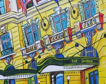 The Seelbach - A Louisville Kentucky Classic Hotel - 18x24 Inch Original Acrylic Painting on Canvas - Pop Art - Color