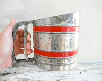 Vintage Sift Chine Flour Sifter With Red Stripes