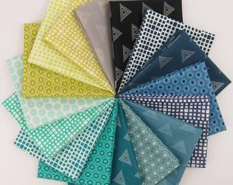 Cool Elements Fat Quarter bundle - Art Gallery Fabrics - 16 Fat Quarters - 4 Yards Total