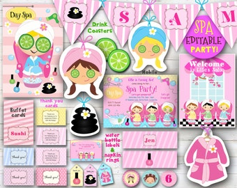 Spa Party printables - EDITABLE D.I.Y birthday party decor, Cute kids party favors, party banners, pink buffet cards, cupcake toppers