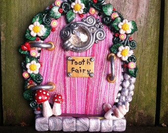 Tooth Fairy Door pixie portal with red toadstools in polymer clay ready to ship by PinkChihuahuaCrafts