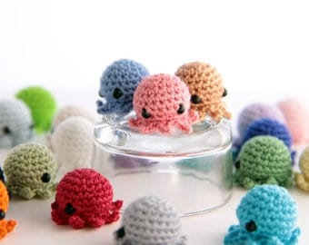 25 PIECE SET: MiniPus (Solid Colors) - Miniature Octopus Amigurumi Doll Plush with Optional Key Chain or Phone Charm Attachments