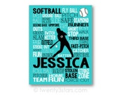 Softball Typography Art, Girl's Room Art, Choose Any Colors, Personalized Gift for Softball Player, Softball Team Coach, Canvas or Art Print