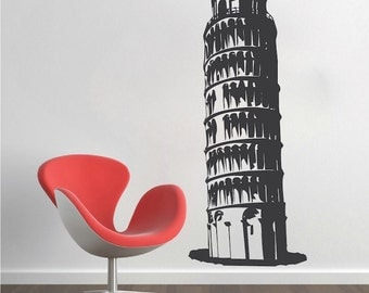 Leaning Tower of Pisa Wall Decal, Tower Wall Sticker, Pisa Wall Art, Italy Wall Murals, Italy Wall Art, Pisa Wall Design, Tower of Pisa, a20