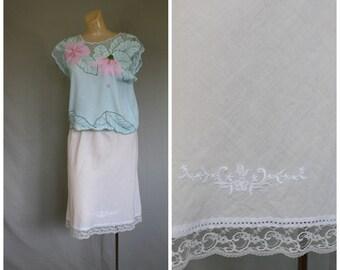 Christian Dior Cotton Dior Slip / Vintage Dior Half Slip / Christian Dior Lingerie / 1970's Lingerie / Ivory Cotton Half Slip XS/S