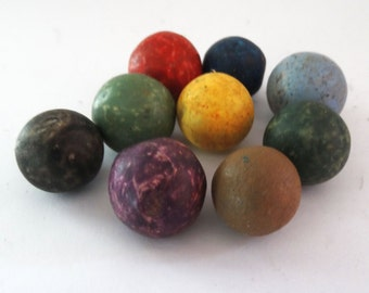 Antique Hand Made Civil War Era Victorian Clay Playing Marbles 9 Bright Colors